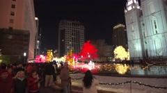 Salt Lake City mormon temple Christmas lights and pool - stock footage