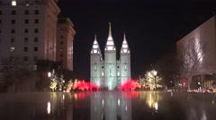 Salt Lake City mormon temple Christmas lights - stock footage