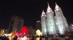 Salt Lake City mormon temple Christmas looking up - stock footage