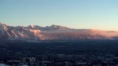 Wasatch range snap zoom Salt Lake City Stock Footage