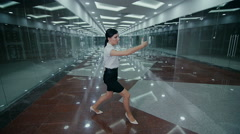 Business woman makes kung-fu exercise - stock footage