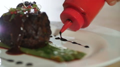 fried steak seasoning sauce and decorated with a close-up - stock footage