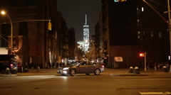 Night Time Street View of Manhattan New York 4K Stock Video - stock footage