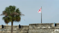 The Cross of Burgundy Flag Symbol of Spain 1506 to 1785 on Fort and Cannon, 4K Stock Footage
