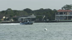 Police Boat Racing on Bay at St. Augustine Florida, 4K Stock Footage