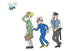 Office worker, a pickpocket and a policeman are staring at a big fly Stock Illustration
