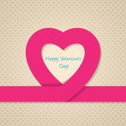 Pink heart ribbon valentine day greeting card Stock Illustration