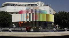 Dizengoff Square fountain, medium shot, Tel-Aviv, Israel Stock Footage