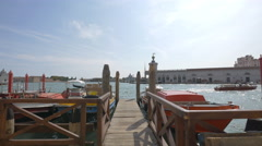 Small wooden pier in the Venetian Lagoon, Venice Stock Footage