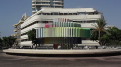 Dizengoff Square fountain, Bauhaus building, Tel-Aviv, Israel Stock Footage
