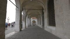 Palazzo delle Prigioni's outside corridor in Venice Stock Footage
