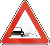Road sign used in Slovakia - Loose chippings - stock illustration