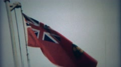 1969: Ontario national flag waving in light wind weather conditions. NIAGRA - stock footage