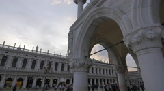 St Mark's Piazzetta with Palazzo Ducale and St Mark's tower in Venice Stock Footage