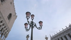 Beautiful lamp post in Piazza San Marco, Venice Stock Footage