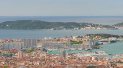 Round view of Toulon city in a spring day Stock Footage