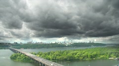 Aerial view of Kiev, Ukraine. Thunderstorm in Kyiv. Stock Footage