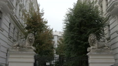 Sculpture of lions at Belvedere street in Vienna Stock Footage