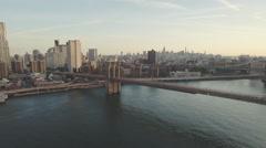 Brooklyn Bridge and Manhattan skyline, New York, United States Stock Footage
