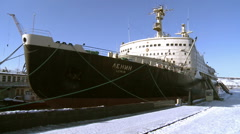 """Lenin"" nuclear icebreaker is in port.Editorial. - stock footage"