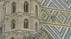 Beautiful mosaic roof at Stephansdom, Vienna Stock Footage