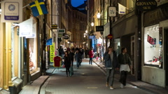 Time Lapse of  Busy European Alley at Night - Stockholm Sweden Stock Footage