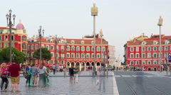 People on the Place Massena in Nice Stock Footage