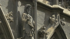 Statue of a saint at St. Stephen's Cathedral, Vienna Stock Footage