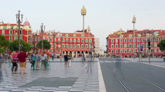 People walk on the Place Massena in Nice timelapse Stock Footage