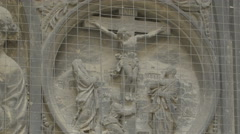 Bas relief sculpture representing the Crucifixion of Jesus, Stephansdom, Vienna - stock footage