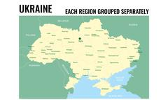 Ukraine map with regions UA Stock Illustration