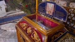 Holy relics in church - stock footage