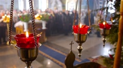 Religious service in Ukranian Orthodox Church 1 - stock footage