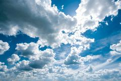 Sunny Dramatic Sky, Bright Blue And White Colors - stock photo