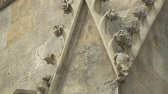 View of the small decorations on the facade of Stephansdom, Vienna Stock Footage