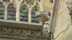 Mythological creature as gargoyle on Stephansdom, Vienna Stock Footage