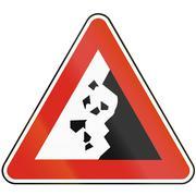 Road sign used in Slovakia - Falling rocks Stock Illustration