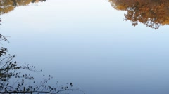 Beautiful autumn landscape of trees reflected in water Stock Footage