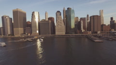 Manhattan skyline and harbor, New York, United States Stock Footage