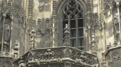 Stock Video Footage of Balcony with gothic decorations on St. Stephen's Cathedral, Vienna