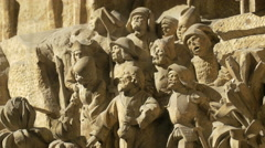Stone statues on the facade of Stephansdom, Vienna Stock Footage