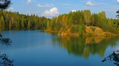Aututmn lake landscape in Ural mountains, 4k Stock Footage