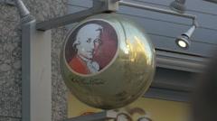 Giant Mozartkugel on Karntner Strasse, Vienna Stock Footage