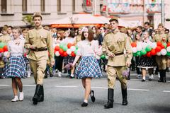 People participating in the parade dedicated to the Victory Day Stock Photos