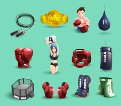 Mma fights 3d icons set Stock Illustration
