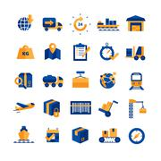 Logistics Icons Set - stock illustration