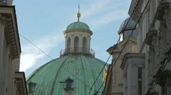 View of the dome of Saint Peter Catholic church in Vienna Stock Footage