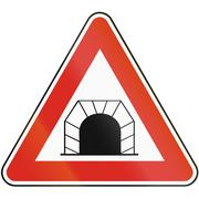 Road sign used in Slovakia - Tunnel - stock illustration