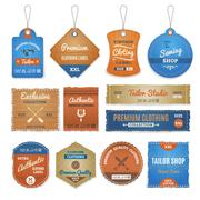 Exclusive Clothing Labels Set - stock illustration