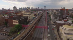 Aerial shot of traffic in Brooklyn, New York, United States Stock Footage